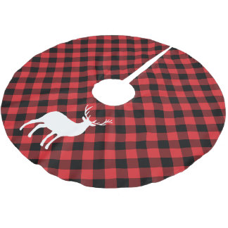 Red Plaid and White Stag | Holiday Brushed Polyester Tree Skirt