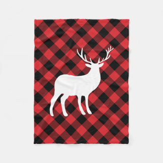 Red Plaid and White Stag | Holiday Fleece Blanket