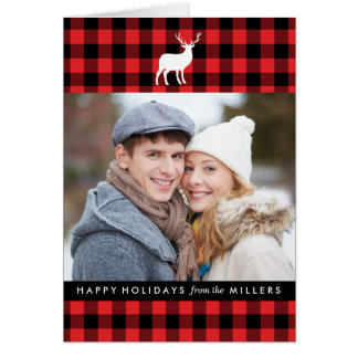 Red Plaid and White Stag | Holiday Photo Card