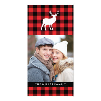Red Plaid and White Stag | Holiday Photo Card Template