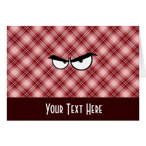 Red Plaid Angry Eyes Cards