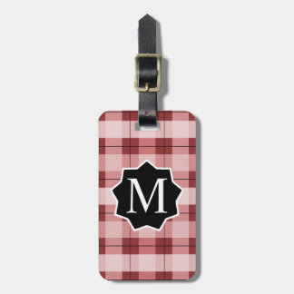 Red Plaid BBL Label Monogrammed Luggage Tag