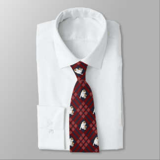 Red Plaid Bulldog Tie
