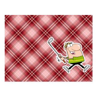 Red Plaid Cartoon Golfer Postcard