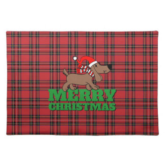 "Red Plaid Christmas Dog Cloth Placemats 20"" x 14"""