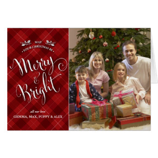 Red Plaid Christmas Photo Card | Merry & Bright