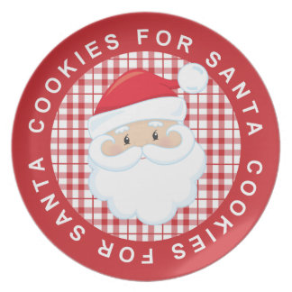 Red Plaid Cookies For Santa Party Plate