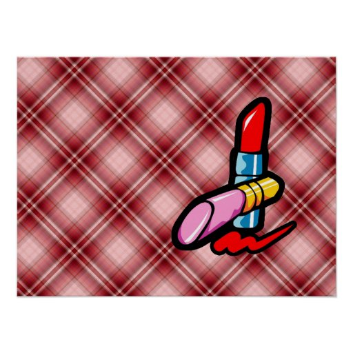Red Plaid Cosmetics Poster