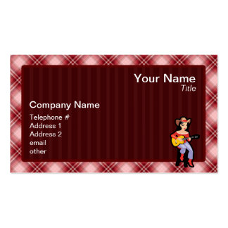Red Plaid Cowgirl with Guitar Business Card Template