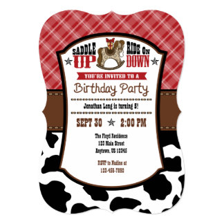 Red Plaid Cowhide Cowboy Birthday Invite
