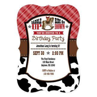 Red Plaid Cowhide Cowboy Birthday Invite