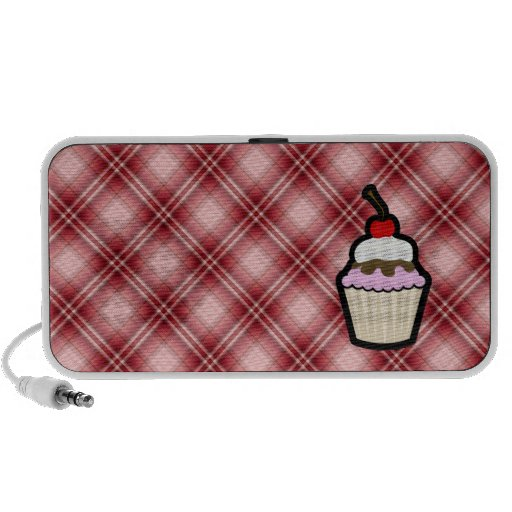 Red Plaid Cupcake PC Speakers