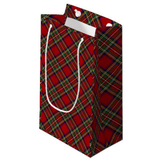 Red Plaid Design Gift Bag