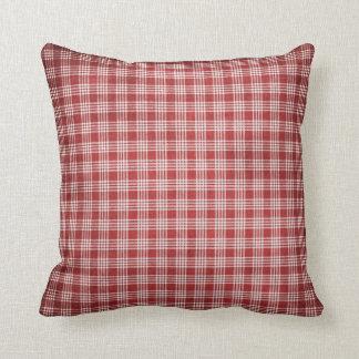 Red Plaid Designed Pillow 1