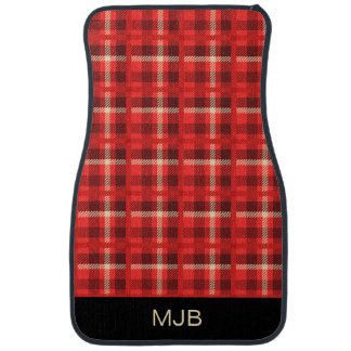 Red Plaid Flannel Look with Monogram Floor Mat