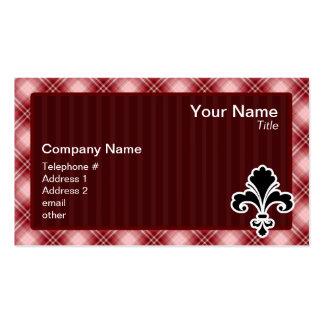 Red Plaid Fleur de lis Business Cards