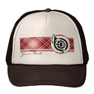 Red Plaid French Horn Mesh Hats