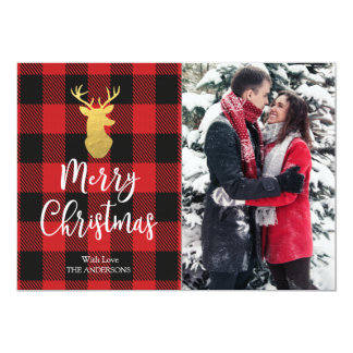Red Plaid Gold Deer Merry Christmas Photo Card