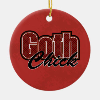 Red Plaid Goth Chick Saying With Pattern Ceramic Ornament