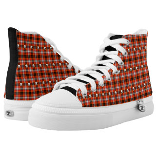Red Plaid Goth Emo Scull Crossbones Black Sneaker