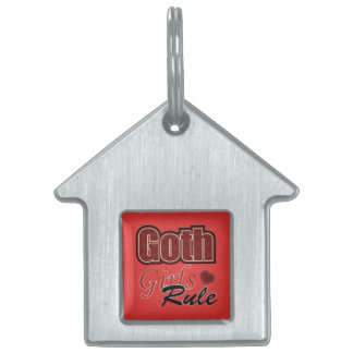 Red Plaid Goth Girls Rule Saying Pet Tag