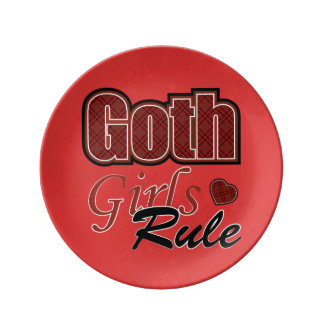Red Plaid Goth Girls Rule Saying Plate