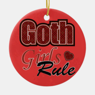 Red Plaid Goth Girls Rule Saying With Pattern Ceramic Ornament