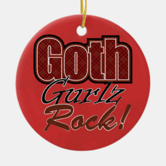 Red Plaid Goth Gurlz Rock Saying With Pattern Ceramic Ornament