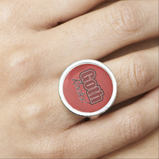 Red Plaid Goth Rocks Saying Ring