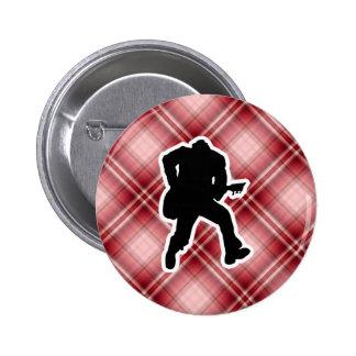 Red Plaid Guitarist Pin