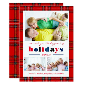 Red Plaid Happiest Holidays - Christmas Card