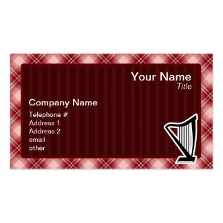 Red Plaid Harp Pack Of Standard Business Cards