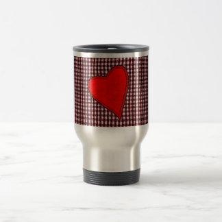 Red Plaid Heart Travel Mug