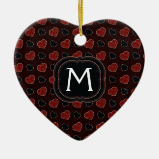 Red Plaid Hearts Pattern With Initial Ceramic Ornament