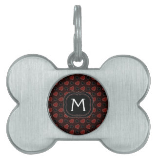 Red Plaid Hearts Pattern With Initial Pet Name Tag