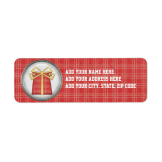 Red Plaid Holiday Gift Return Address Labels