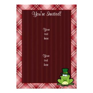 Red Plaid Irish Frog Personalized Invitations