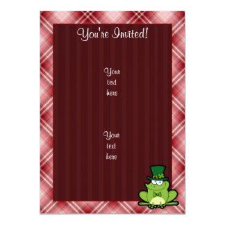 Red Plaid Irish Frog 13 Cm X 18 Cm Invitation Card