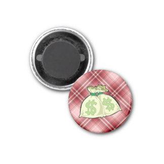 Red Plaid Money Bags Refrigerator Magnet
