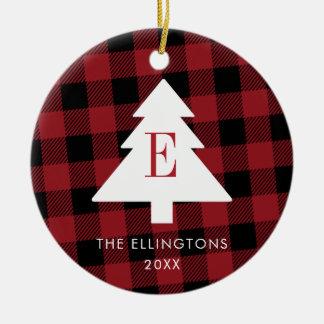 Red Plaid Monogram Christmas Ornament with Photo