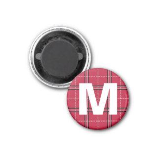 Red Plaid Monogram Initial Letter Kids Art Magnet
