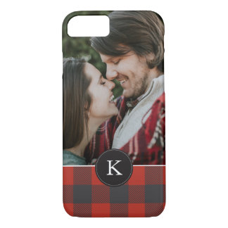 Red Plaid + Monogram iPhone 8/7 Case