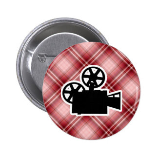Red Plaid Movie Camera Pinback Buttons