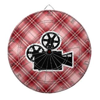 Red Plaid Movie Camera Dart Board