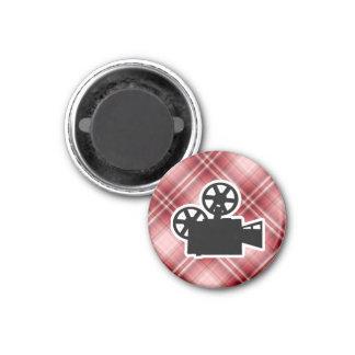 Red Plaid Movie Camera Fridge Magnets