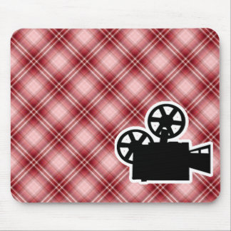 Red Plaid Movie Camera Mouse Pad