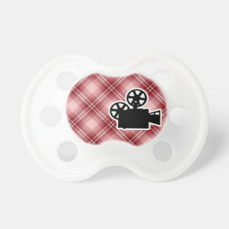 Red Plaid Movie Camera Baby Pacifier