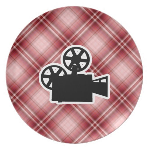 Red Plaid Movie Camera Party Plate