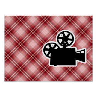 Red Plaid Movie Camera Posters