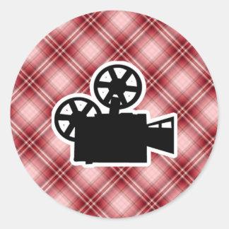 Red Plaid Movie Camera Round Stickers